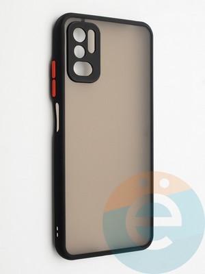 Накладка пластиковая с силиконовой окантовкой с защищенной камерой для Xiaomi Redmi Note 10 5G черная - фото 42343