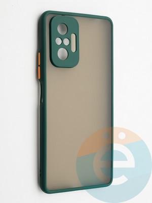 Накладка пластиковая с силиконовой окантовкой с защищенной камерой для Xiaomi Redmi Note 10 Pro 4G зеленая - фото 42344