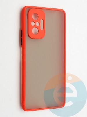 Накладка пластиковая с силиконовой окантовкой с защищенной камерой для Xiaomi Redmi Note 10 Pro 4G красная - фото 42345