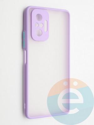 Накладка пластиковая с силиконовой окантовкой с защищенной камерой для Xiaomi Redmi Note 10 Pro 4G сиреневая - фото 42347