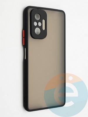 Накладка пластиковая с силиконовой окантовкой с защищенной камерой для Xiaomi Redmi Note 10 Pro 4G черная - фото 42349