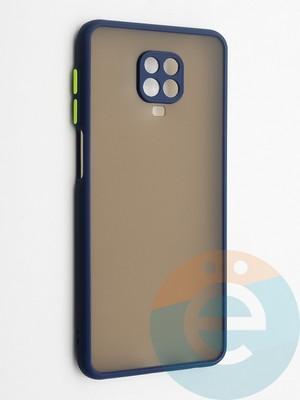 Накладка пластиковая с силиконовой окантовкой с защищенной камерой для Xiaomi Redmi Note 9S/9 Pro синяя - фото 42350