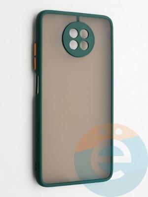 Накладка пластиковая с силиконовой окантовкой с защищенной камерой для Xiaomi Redmi Note 9T зеленая - фото 42351