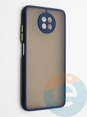 Накладка пластиковая с силиконовой окантовкой с защищенной камерой для Xiaomi Redmi Note 9T синяя - фото 42353