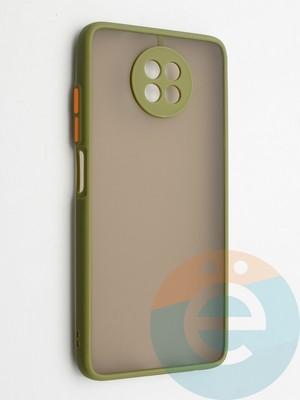 Накладка пластиковая с силиконовой окантовкой с защищенной камерой для Xiaomi Redmi Note 9T хаки - фото 42355