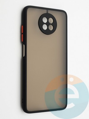 Накладка пластиковая с силиконовой окантовкой с защищенной камерой для Xiaomi Redmi Note 9T черная - фото 42356