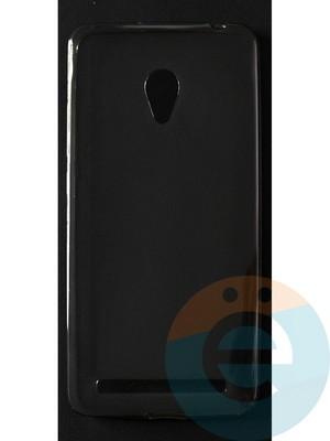 Накладка силиконовая ультратонкая на Asus ZenFone 6 матовая тёмно-прозрачная - фото 42856
