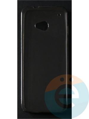 Накладка силиконовая ультратонкая на HTC M7 тёмно-прозрачная - фото 42858