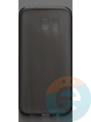 Накладка силиконовая ультратонкая на Samsung Galaxy S7 edge тёмно-прозрачная - фото 44374