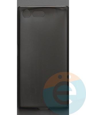Накладка силиконовая ультратонкая на Sony Xperia X Compact тёмно-прозрачная - фото 44416