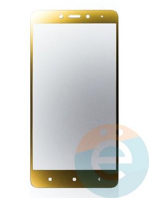 Защитное стекло 2D полноэкранное на Xiaomi Redmi Note 4 золотистое - фото 44912
