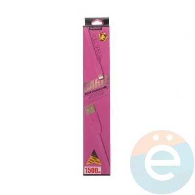 USB кабель Remax Full Speed RC-001i на Lightning 1.5м розовый - фото 4767