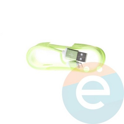 USB кабель на Lightning плетёный 1.5м салатовый - фото 4887