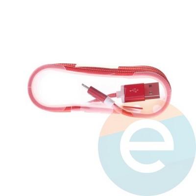 USB кабель на Lightning плетёный 1.5м красный - фото 4889