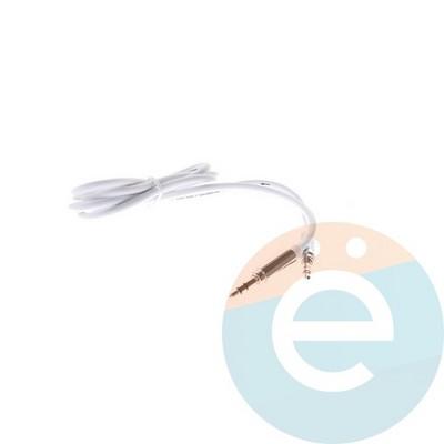 AUX кабель Belkin папа-папа 3.5мм плоский метал белый - фото 4913