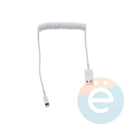 USB кабель на Lightning пружина белый - фото 12342