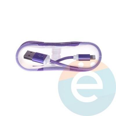 USB кабель на Lightning плетёный 1.5м фиолетовый - фото 5005