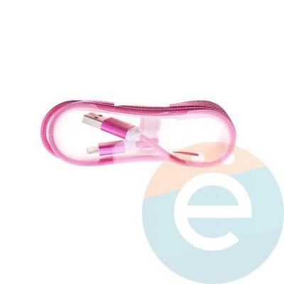 USB кабель на Lightning плетёный 1.5м малиновый - фото 5007