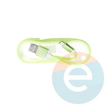 USB кабель на Micro-USB плетёный 1.5м салатовый - фото 5008