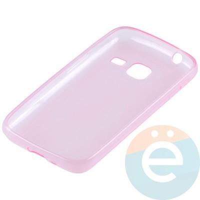 Накладка силиконовая ультра-тонкая на Samsung Galaxy J1 mini прозрачно-розовая - фото 10992