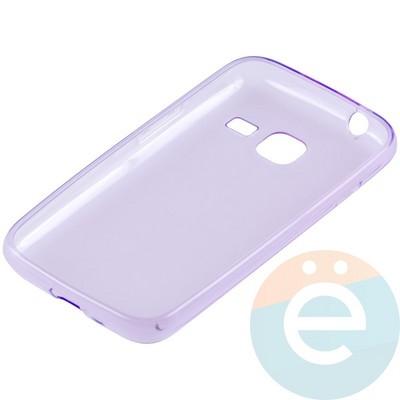 Накладка силиконовая ультратонкая на Samsung Galaxy J1 mini прозрачно-фиолетовая - фото 10993