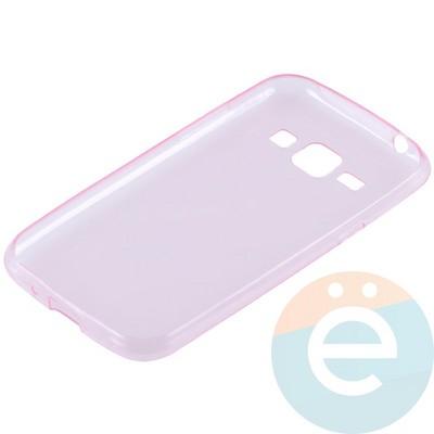 Накладка силиконовая ультра-тонкая на Samsung Galaxy J1 SM-J100 (2015) прозрачно-розовая - фото 10997