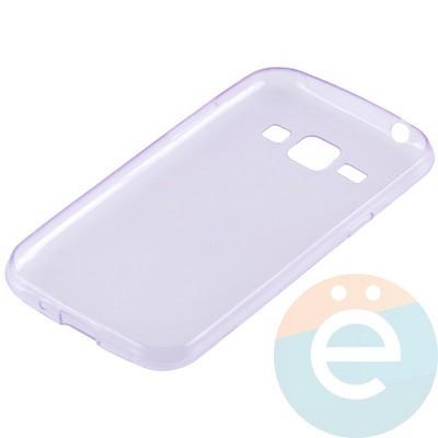 Накладка силиконовая ультратонкая на Samsung Galaxy J1 SM-J100 (2015) прозрачно-фиолетовая - фото 11001