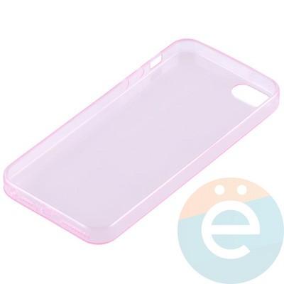 Накладка силиконовая ультра-тонкая на Apple iPhone 5/5s/SE прозрачна-розовая - фото 11011
