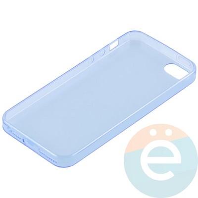 Накладка силиконовая ультратонкая на Apple iPhone 5/5s/SE прозрачна-синия - фото 11012