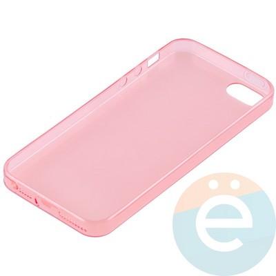 Накладка силиконовая ультратонкая на Apple iPhone 5/5s/SE прозрачна-красная - фото 11014