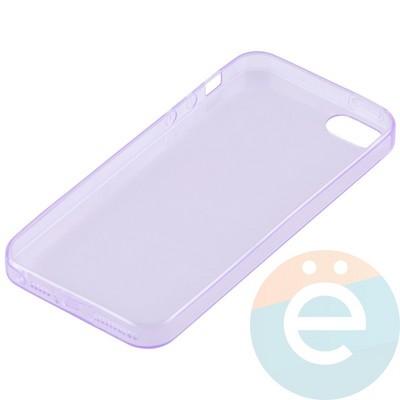 Накладка силиконовая ультратонкая на Apple iPhone 5/5s/SE прозрачна-фиолетовая - фото 11996