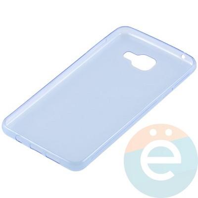 Накладка силиконовая ультратонкая на Samsung Galaxy A7 (2016) SM-A710 прозрачно-синия - фото 11016