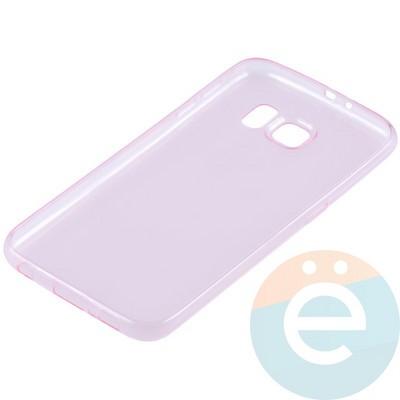 Накладка силиконовая ультратонкая на Samsung Galaxy S6 прозрачно-розовая - фото 11028