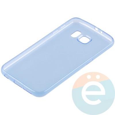 Накладка силиконовая ультратонкая на Samsung Galaxy S6 прозрачно-синия - фото 11029