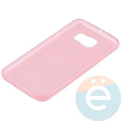 Накладка силиконовая ультратонкая на Samsung Galaxy S6 прозрачно-красная - фото 11047