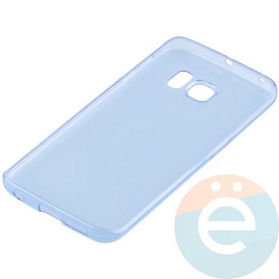 Накладка силиконовая ультратонкая на Samsung Galaxy S6 Edge прозрачно-синия - фото 11032