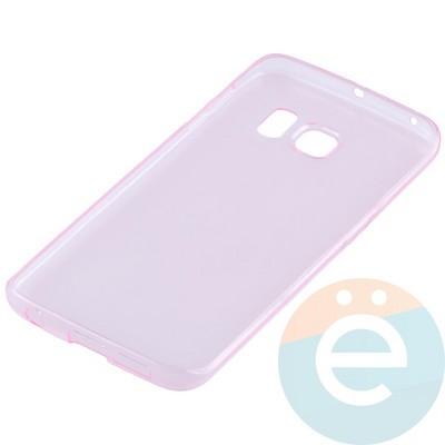 Накладка силиконовая ультратонкая на Samsung Galaxy S6 Edge прозрачно-розовая - фото 11033