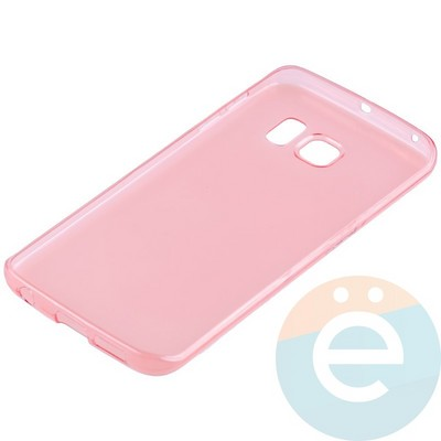 Накладка силиконовая ультратонкая на Samsung Galaxy S6 Edge прозрачно-красная - фото 11035