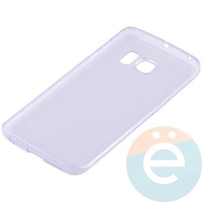 Накладка силиконовая ультратонкая на Samsung Galaxy S6 Edge прозрачно-фиолетовая - фото 11036