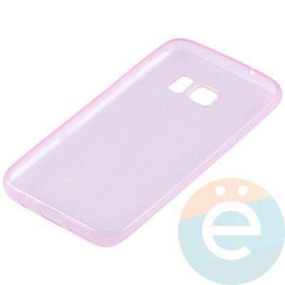 Накладка силиконовая ультратонкая на Samsung Galaxy S7 прозрачно-розовая - фото 11039
