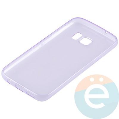 Накладка силиконовая ультратонкая на Samsung Galaxy S7 прозрачно-фиолетовая - фото 11040