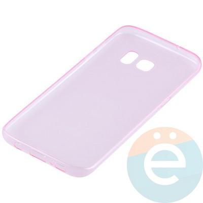 Накладка силиконовая ультратонкая на Samsung Galaxy S7 Edge прозрачно-розовая - фото 11042