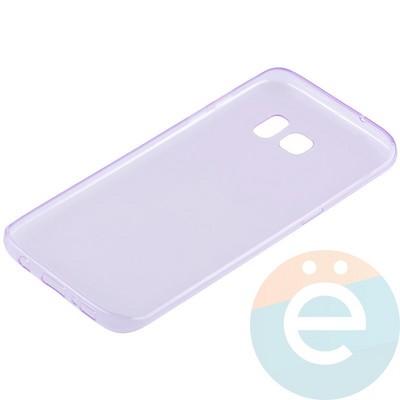 Накладка силиконовая ультратонкая на Samsung Galaxy S7 Edge прозрачно-фиолетовая - фото 11043