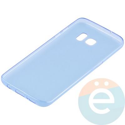 Накладка силиконовая ультратонкая на Samsung Galaxy S7 Edge прозрачно-синия - фото 11044