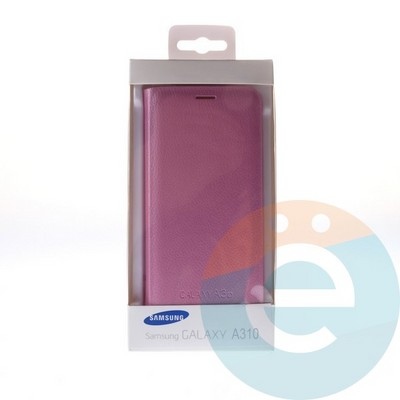 Чехол-книжка боковой на Samsung Galaxy A3 (2016) SM-A310 розовый - фото 5116