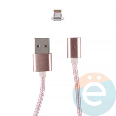 USB кабель на Lightning плетёный магнитный розовый - фото 12277