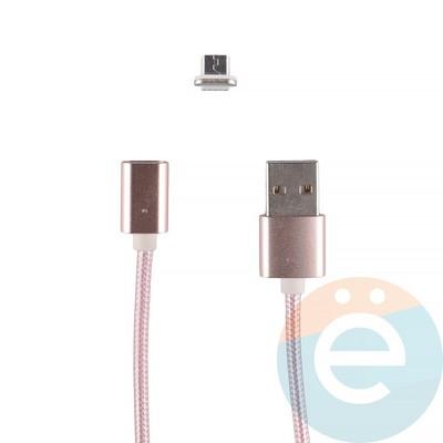 USB кабель на Micro-USB плетёный магнитный розовый - фото 12278