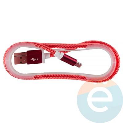 USB кабель на Micro-USB плетёный 1.5м красный - фото 12680