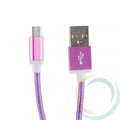USB кабель на Micro-USB плетёный 1.5м фиолетовый - фото 12762