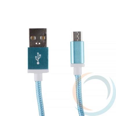 USB кабель на Micro-USB плетёный 1.5м голубой - фото 12764